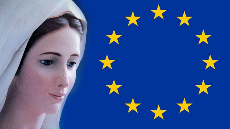 Az Európai Unió zászlaja Szűz Mária jelképeit tartalmazza